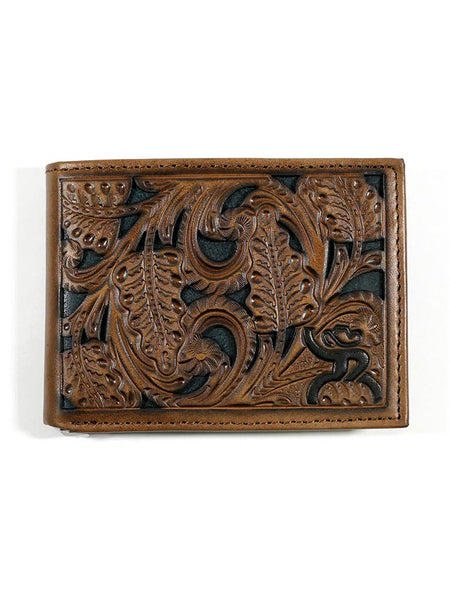 HOOey 1871161W1 Mens Bi-Fold Roughy Chestnut Green Tooled Wallet Front View