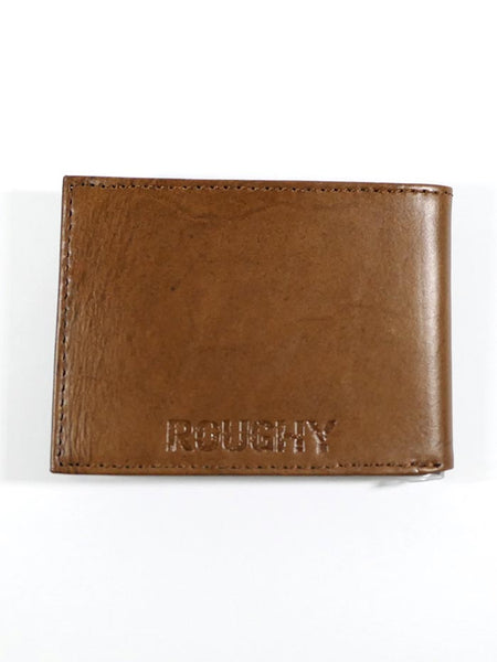 HOOey 1871161W1 Mens Bi-Fold Roughy Chestnut Green Tooled Wallet Back View