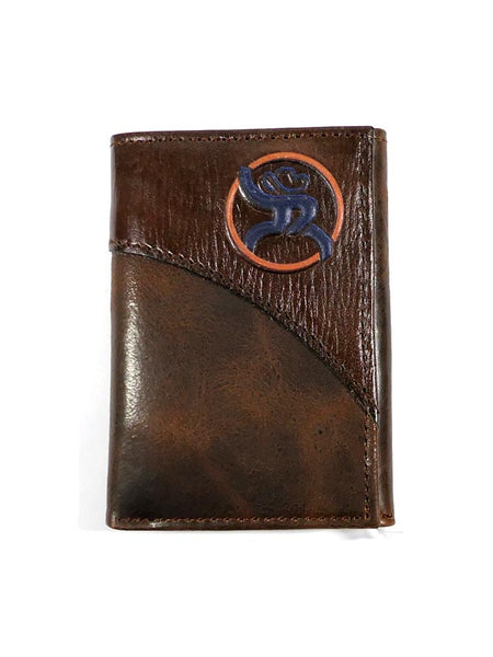 HOOey 1871322W2 Mens Tri-Fold Roughy Chestnut Leather Wallet
