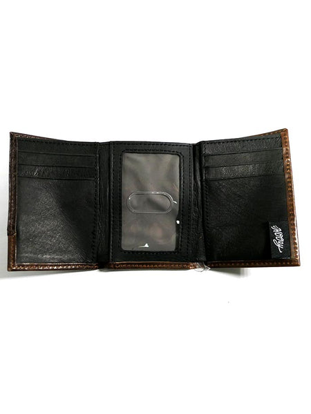HOOey 1871322W2 Mens Tri-Fold Roughy Chestnut Leather Wallet inside
