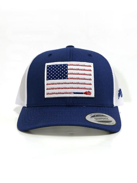 Liberty Roper Trucker Cap Hooey 1905T-BLWH American Flag Blue and White Ball Cap Authentic Pre-Curved Bill