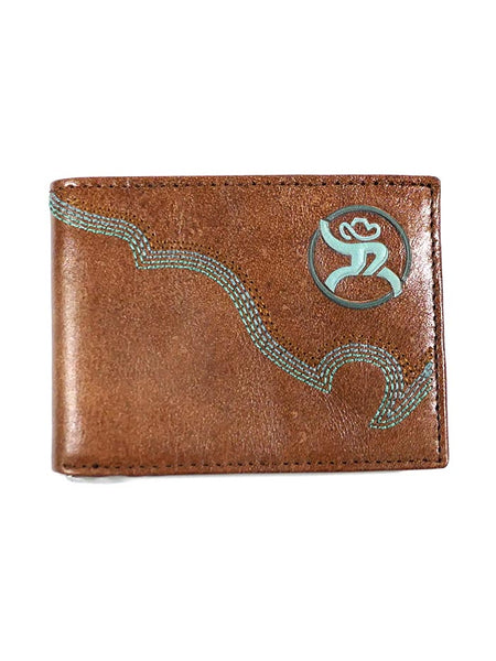 HOOey 1912161W1 Mens Bi-Fold Roughy Chestnut Boot Stitched Wallet Front