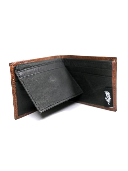 HOOey 1912161W1 Mens Bi-Fold Roughy Chestnut Boot Stitched Wallet Inside
