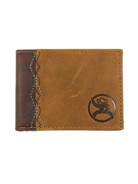 HOOey 1983161W1 Mens Bi-Fold Roughy Tan Brown Leather Wallet