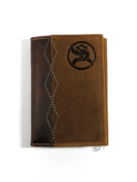 HOOey 1983322W1 Mens Tri-Fold Roughy Stitched Leather Wallet