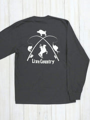 JC Western 1PC61LS Mens Live Country Long Sleeve Tees Charcoal Back Design