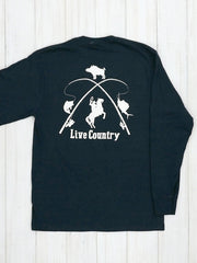 JC Western 1PC61LS Mens Live Country Long Sleeve Tee Deep Navy Back Graphic Design