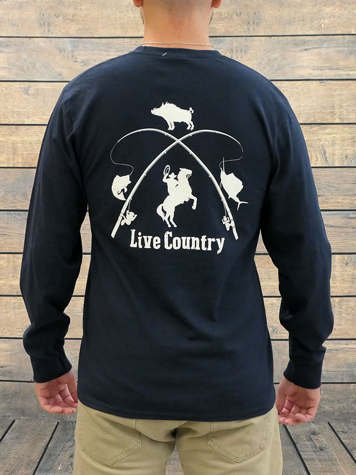 JC Western 1PC61LS Mens Live Country Long Sleeve Tee Deep Navy Back