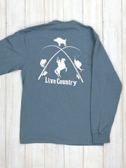 JC Western 1PC61LS Mens Live Country Long Sleeve Tee Light Blue Back Graphic Design