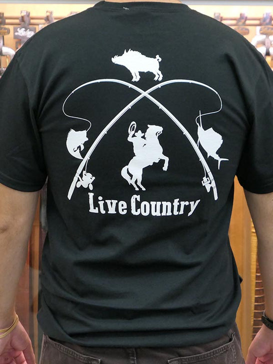 JC Western 1PC61SS Mens Live Country Short Sleeve Tees Black Back View