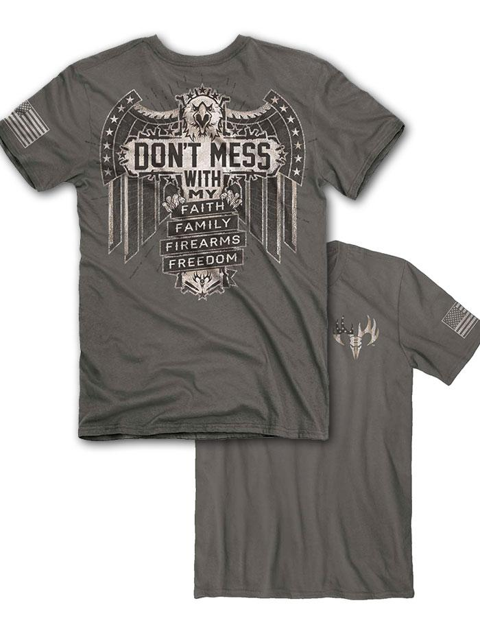Buck Wear 2036 Mens Don't Mess Short Sleeve Graphic Tee Front and back