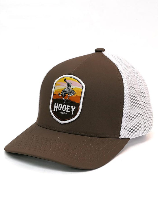 Hooey 2044BRWH-01 Cheyenne Brown and White Flex-Fit Ball Cap Front