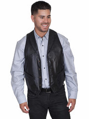 Scully 206 Mens Leather Whip Stitch TrailRider Leather Vests 206-11 Black