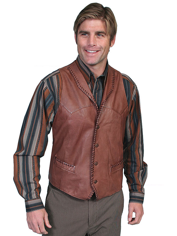Scully 206 Mens Leather Whip Stitch TrailRider Leather Vests Black Brown Tan