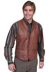 Scully 206 Mens Leather Whip Stitch TrailRider Leather Vests 206-171 Tan