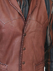Scully 206 Mens Leather Whip Stitch TrailRider Leather Vests Stitch