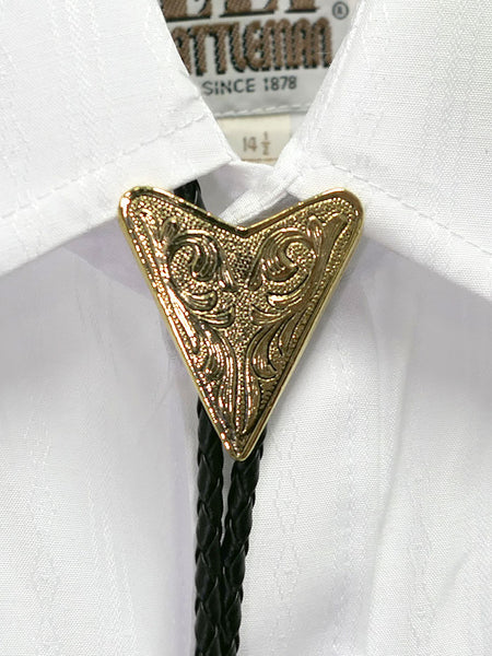 Austin Accent 2076G Gold Triangular Western Bolo Tie on a shirt