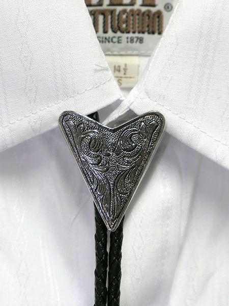 Austin Accent 2076S Silver Triangular Western Bolo Tie on a shirt