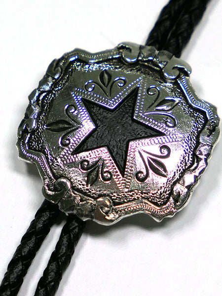 Austin Accent 2417S Lone Star SIlver Western Bolo Tie Close Up at JC Western
