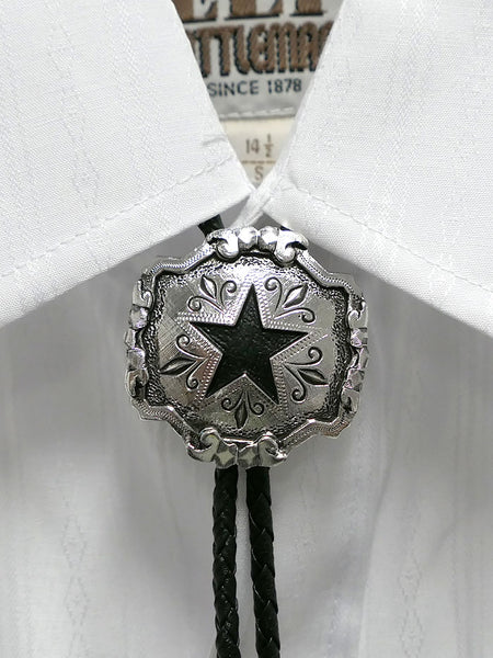 Austin Accent 2417S Lone Star Silver Western Bolo Tie on a shirt