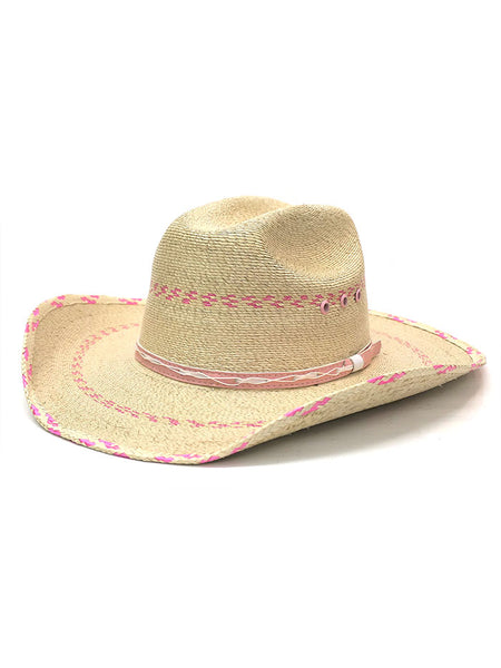 Bullhide 2458 Kids Candy Kisses 10x Straw Hat Natural Pink Cowgirl Hats