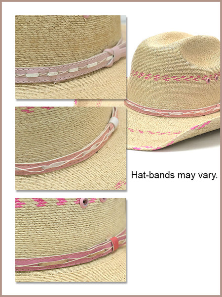 Bullhide 2458 Kids Candy Kisses 10x Straw Hat Natural Pink Hat bands are slightly different