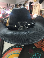 Bullhide 2598 Twist Off Bottle Opener Concho Premium Straw Hat Black front