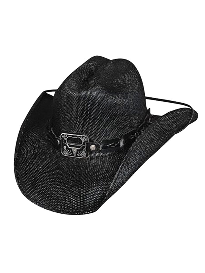 Bullhide 2598 Twist Off Bottle Opener Concho Premium Straw Hat Black
