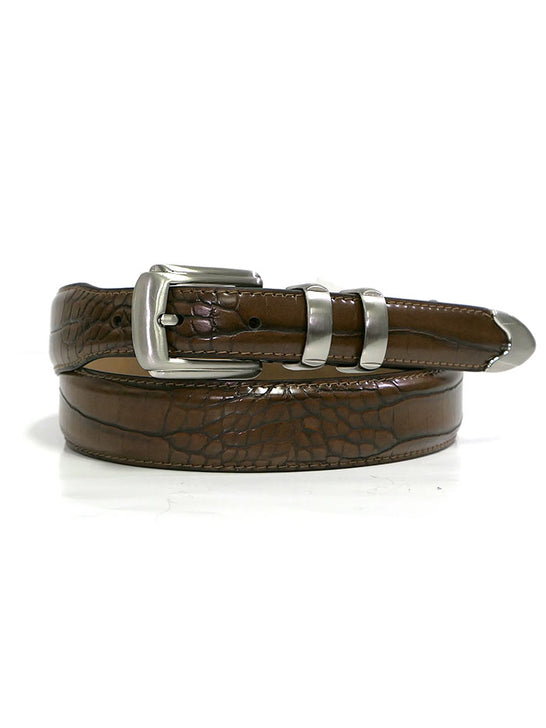 Mens 2669500BR-CROC Print Classic Dress Leather Belt Brown