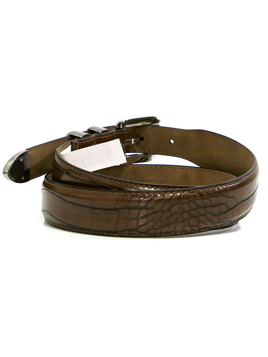 Mens 2669500BR CROC Print Classic Dress Leather Belt Brown