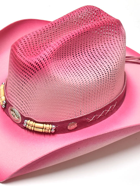 Bullhide 2814P Kids Little Goodbye Straw Hat Pink top view