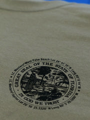 JC Western 2PC61SS Mens Good ol' Florida Boy Short Sleeve Tee Dusty Brown Front Closeup