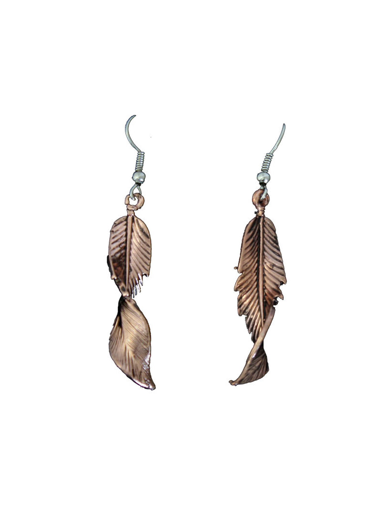 Twisted Copper Feather Earrings