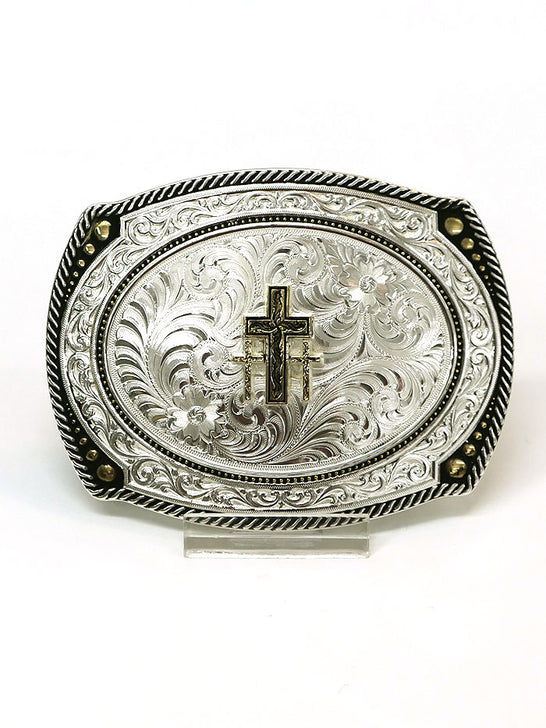 Montana Silversmiths 31210 Large Cameo Roped Christian Cross Buckle Front