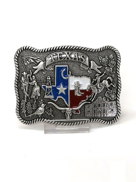 Nocona 37592 Scalloped State of Texas Motif Belt Buckle Front View
