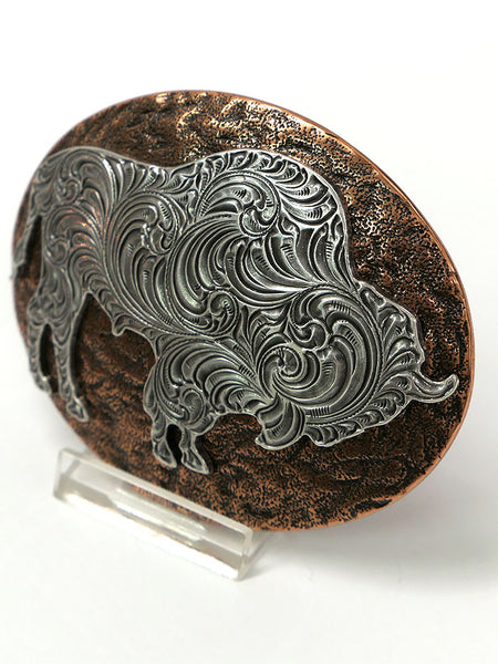 Nocona 37712 Mens Oval Buffalo Copper Western Belt Buckle Top