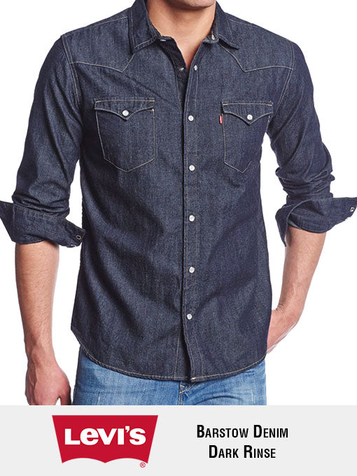 Levi's 3LMLW0313CC Mens Barstow Western Denim Snap Shirts Dark Rinse Front View