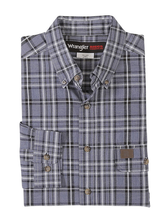Wrangler 3W620BB Mens RIGGS WORKWEAR Foreman Plaid Shirt Blue Black