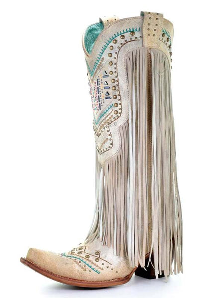 Corral Ladies Bone Swarovski Pattern And Fringes Cowgirl Boot C3424