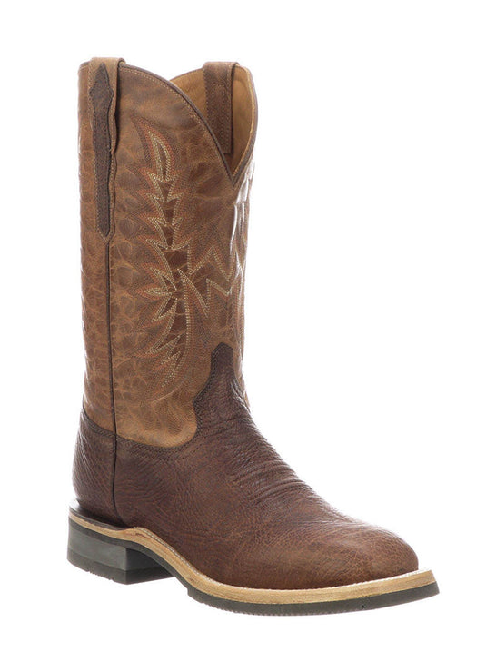 Lucchese M4090.WF Mens Rudy Peanut Cowhide Performance Cowboy Boots Chocolate Side Front
