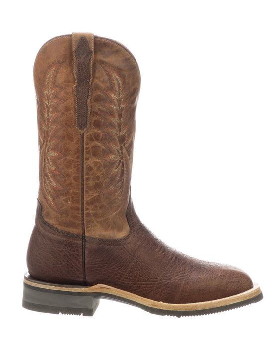 Lucchese M4090.WF Mens Rudy Peanut Cowhide Performance Cowboy Boots Chocolate Side View