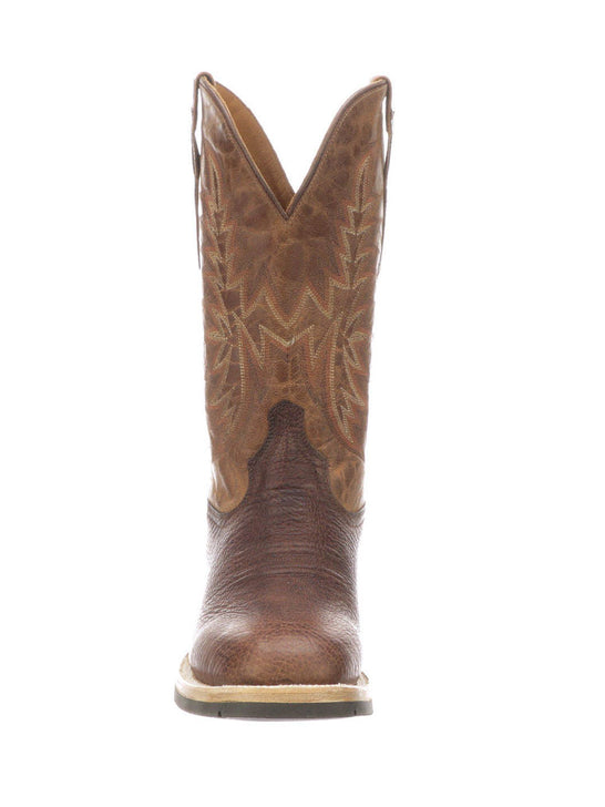 Lucchese M4090.WF Mens Rudy Peanut Cowhide Performance Cowboy Boots Chocolate Front View
