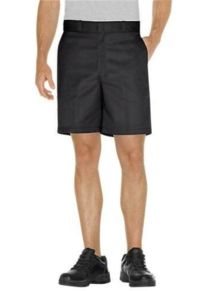 "Dickies 42234BK Mens 8"" Relaxed Fit Traditional Flat Front Short Black"