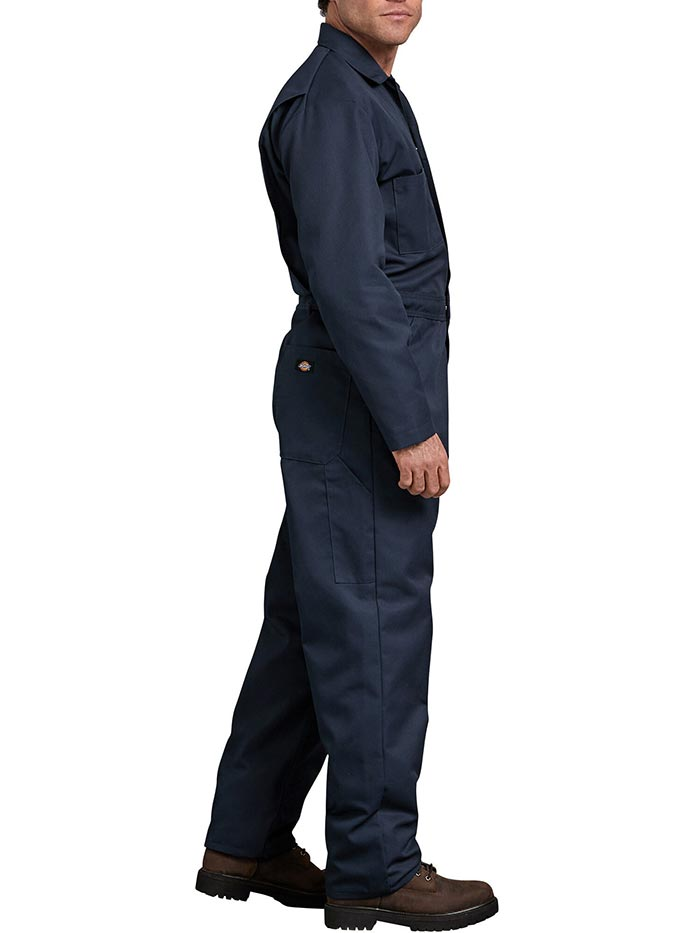 Dickies 48611DN Mens Blended Long Sleeve Coveralls Dark Navy Front 48611