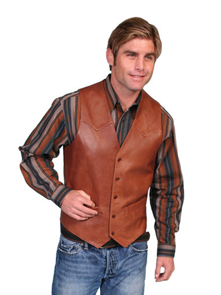 Scully Leather Mens Antique Brown Lambskin Button Front Vest 503-189 Scully - J.C. Western® Wear