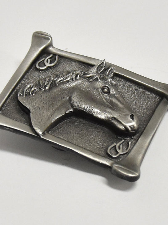 Horsehead USA Made Pewter Western Belt Buckle 5103