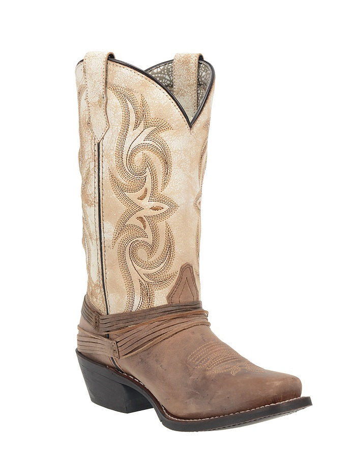 Laredo 51091 Ladies Myra Brown & Sand White Western Boots