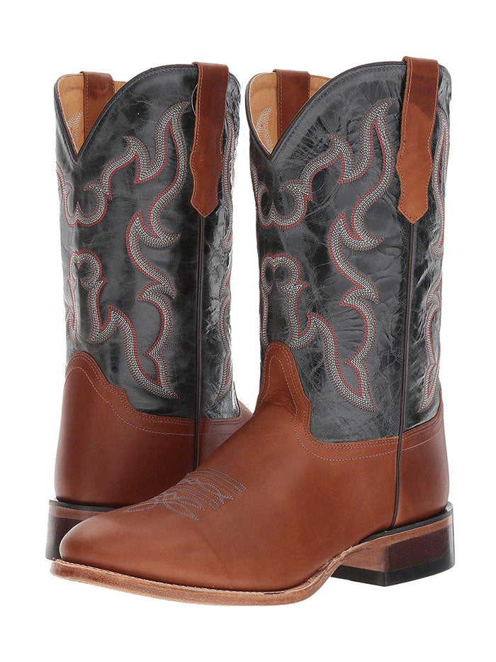 Old West 5701 Mens Blue Crunch Round Toe Western Boot Pecan