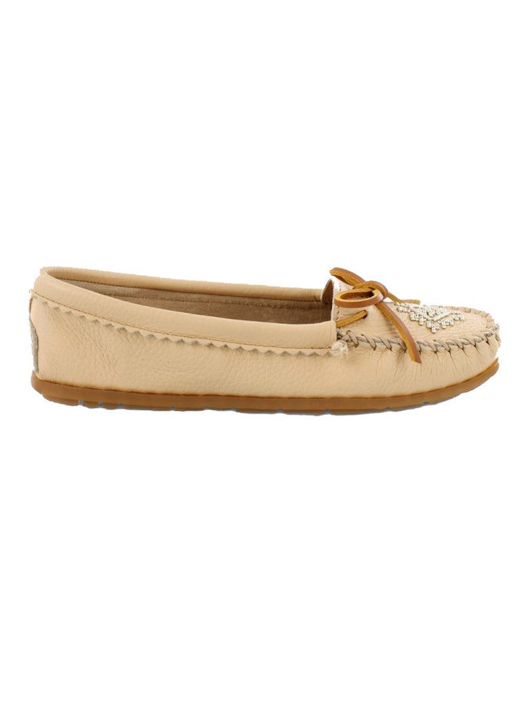 Minnetonka 57 Women's Deerskin Beaded Moccasin Champagne