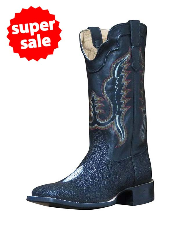 fc539c32f77 Outlaw Men's Black Stingray Square Toe Western Boots 60111